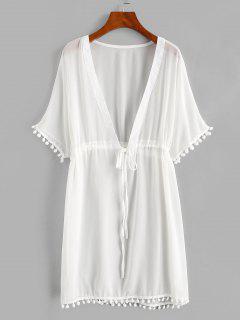 Drawstring Chiffon Pompoms Beach Dress - White Xl