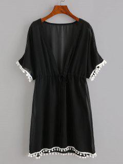 Drawstring Chiffon Pompoms Beach Dress - Black L
