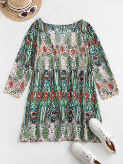 Mini-Robe Bohémienne Imprimée à Manches Longues - Multi-a Xl
