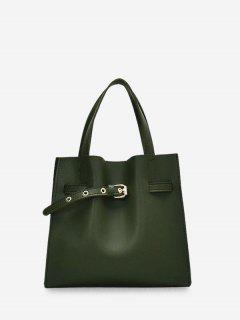 Buckle Embellished Square Shoulder Bag Set - Green