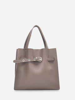 Buckle Embellished Square Shoulder Bag Set - Camel Brown