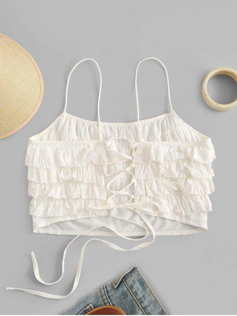ZAFUL Cami Top com Enlaçado e Babado em Camadas Cortado - Branco XL Mobile