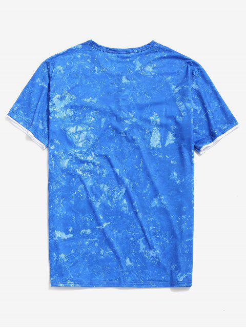 buy Tie Dye Print Short Sleeve Henley T-shirt - BLUE XS Mobile