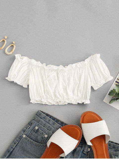 women Solid Cropped Off Shoulder Blouse - WHITE ONE SIZE Mobile
