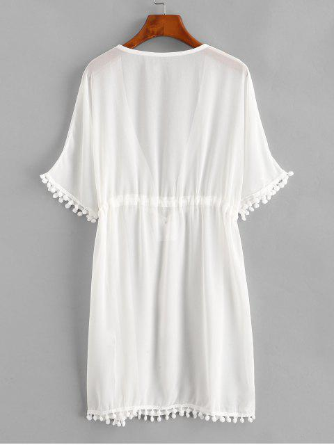 hot Drawstring Chiffon Pompoms Beach Dress - WHITE S Mobile