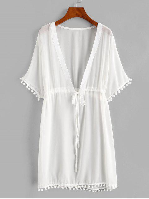outfit Drawstring Chiffon Pompoms Beach Dress - WHITE M Mobile
