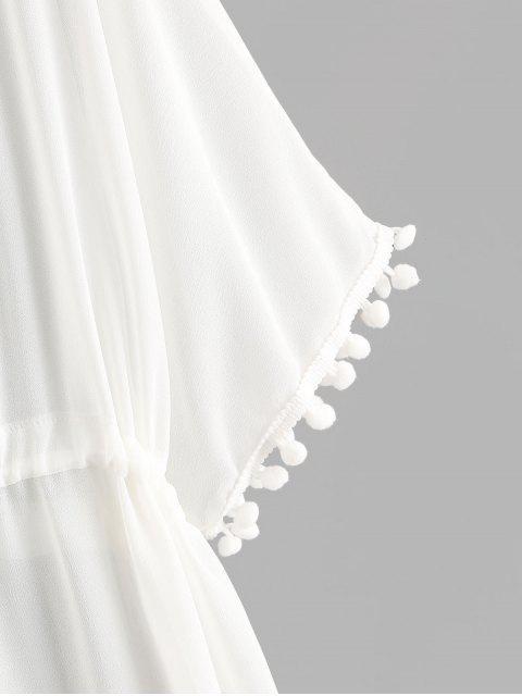 shop Drawstring Chiffon Pompoms Beach Dress - WHITE XL Mobile