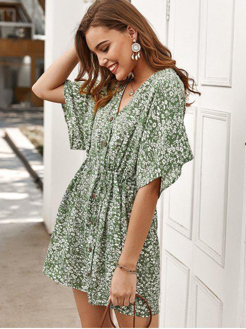 unique Tiny Floral Buttoned Drawstring Dress - GREEN S Mobile