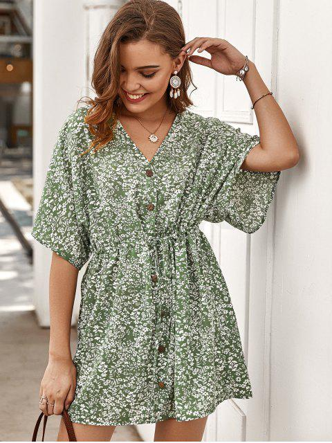 outfits Tiny Floral Buttoned Drawstring Dress - GREEN L Mobile