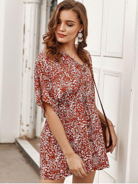 Winziges Kleid mit Geknöpftem Tunnelzug - Rot L Mobile