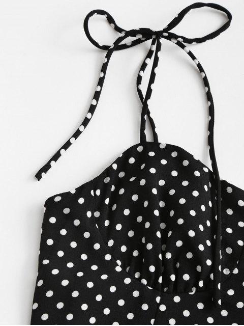 Krawatte Schulter Tupfen Minikleid - Schwarz M Mobile