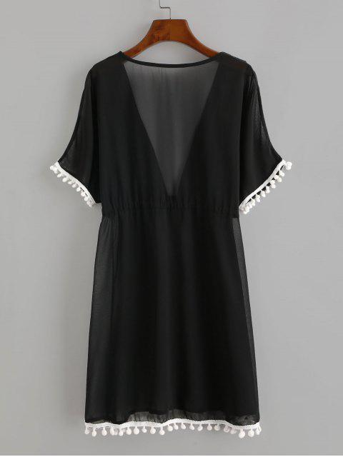 trendy Drawstring Chiffon Pompoms Beach Dress - BLACK L Mobile