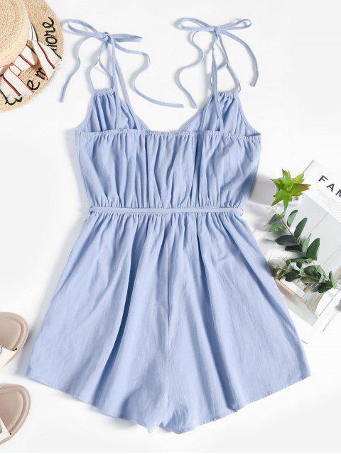 outfit ZAFUL Tie Belted Surplice Romper - BLUE GRAY M Mobile