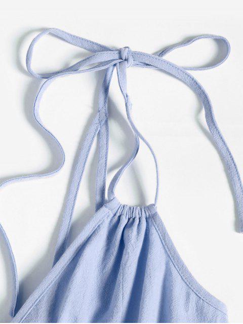 chic ZAFUL Tie Belted Surplice Romper - BLUE GRAY XL Mobile