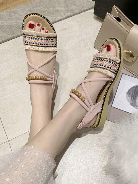 chic Fringe Trim Ankle Strap Ethnic Sandals - LIGHT PINK EU 38 Mobile