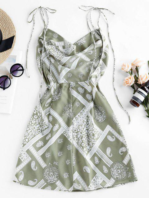 unique ZAFUL Cowl Front Ethnic Print Backless Mini Dress - LIGHT GREEN S Mobile