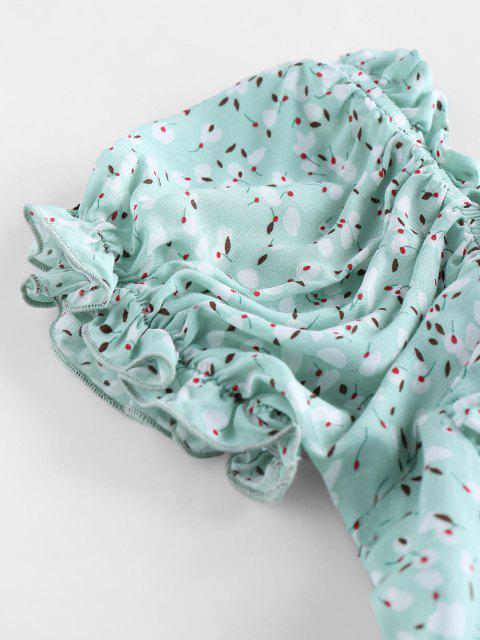 affordable ZAFUL Ditsy Print Puff Sleeve Crop Blouse - AQUAMARINE XL Mobile