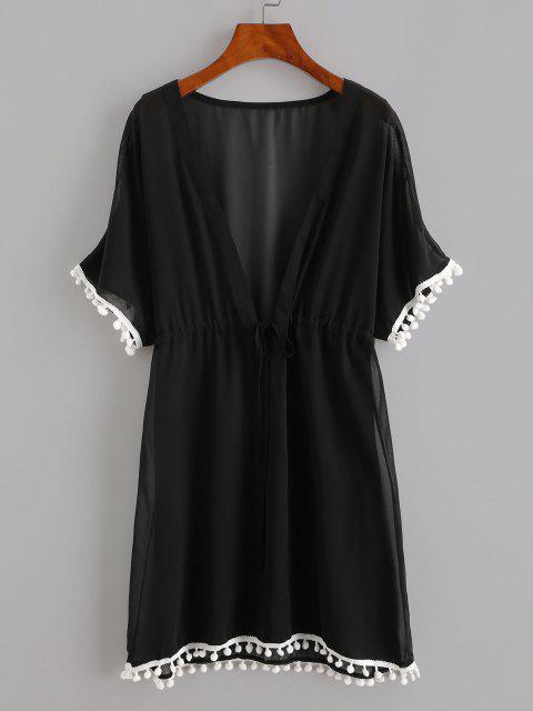 الرباط الشيفون اللباس شاطئ الكريات - أسود XL Mobile