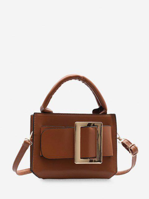 outfits Buckle Embellished Square Crossbody Bag - BROWN  Mobile