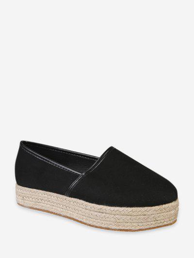 Plain Round Toe Espadrilles Platform Shoes - Black Eu 41
