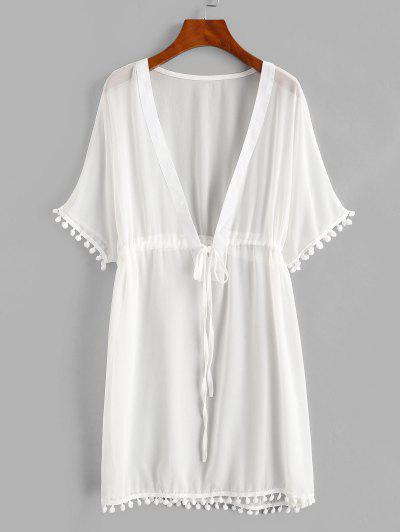 Drawstring Chiffon Pompoms Beach Dress - White S