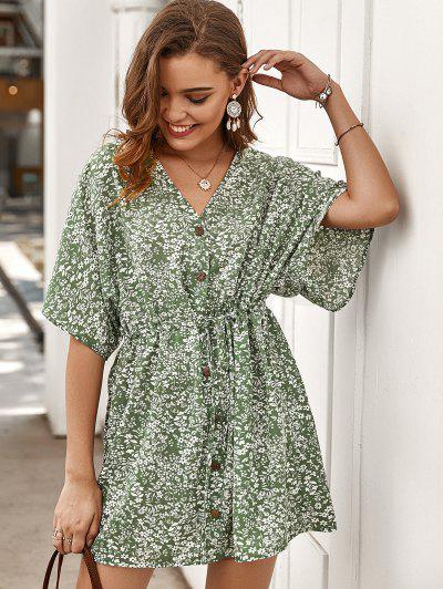 Tiny Floral Buttoned Drawstring Dress - Green L