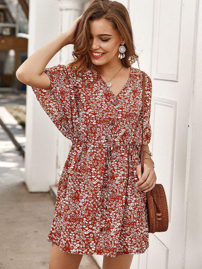 Tiny Floral Buttoned Drawstring Dress - Red M