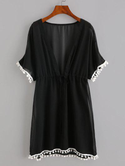 Drawstring Chiffon Pompoms Beach Dress - Black M