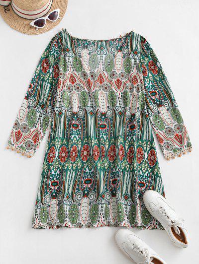 Long Sleeve Bohemian Printed Mini Dress - Multi-a Xl