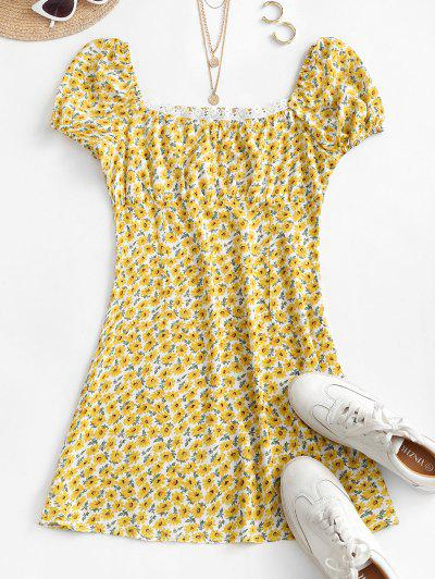 Smocked Crochet Trim Ditsy Floral Milkmaid Dress - Yellow L