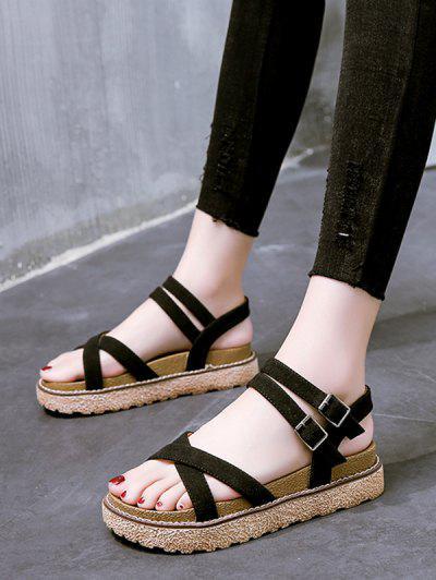 Crisscross Ankle Strap Platform Sandals - Black Eu 39