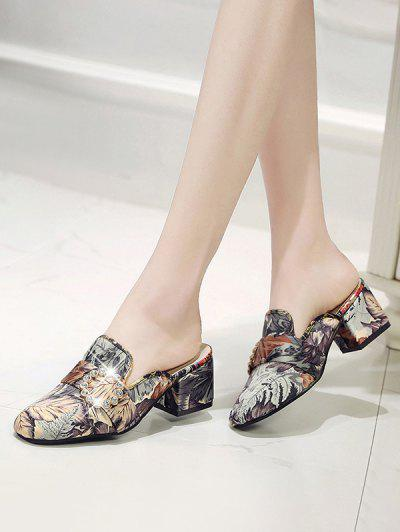 Rhinestone Buckle Printed Loafer Pumps - Gray Eu 39