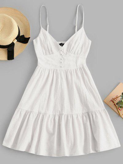 ZAFUL Button Embellished Smocked Flounce Hem Cami Dress - White S