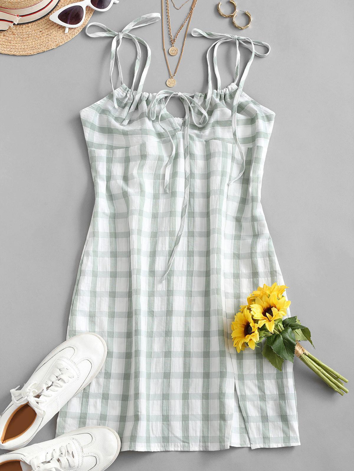 Tie Shoulder Plaid Slit Mini Dress