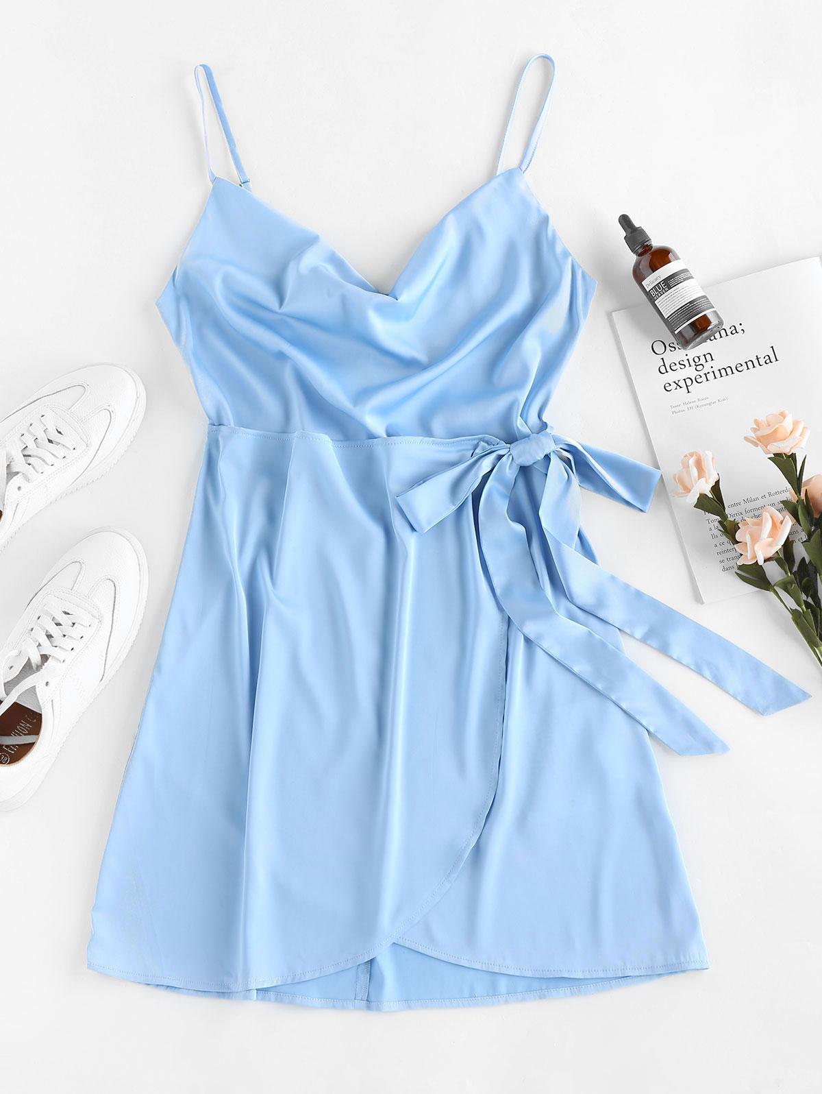 ZAFUL Tie Front Satin Mini Dress