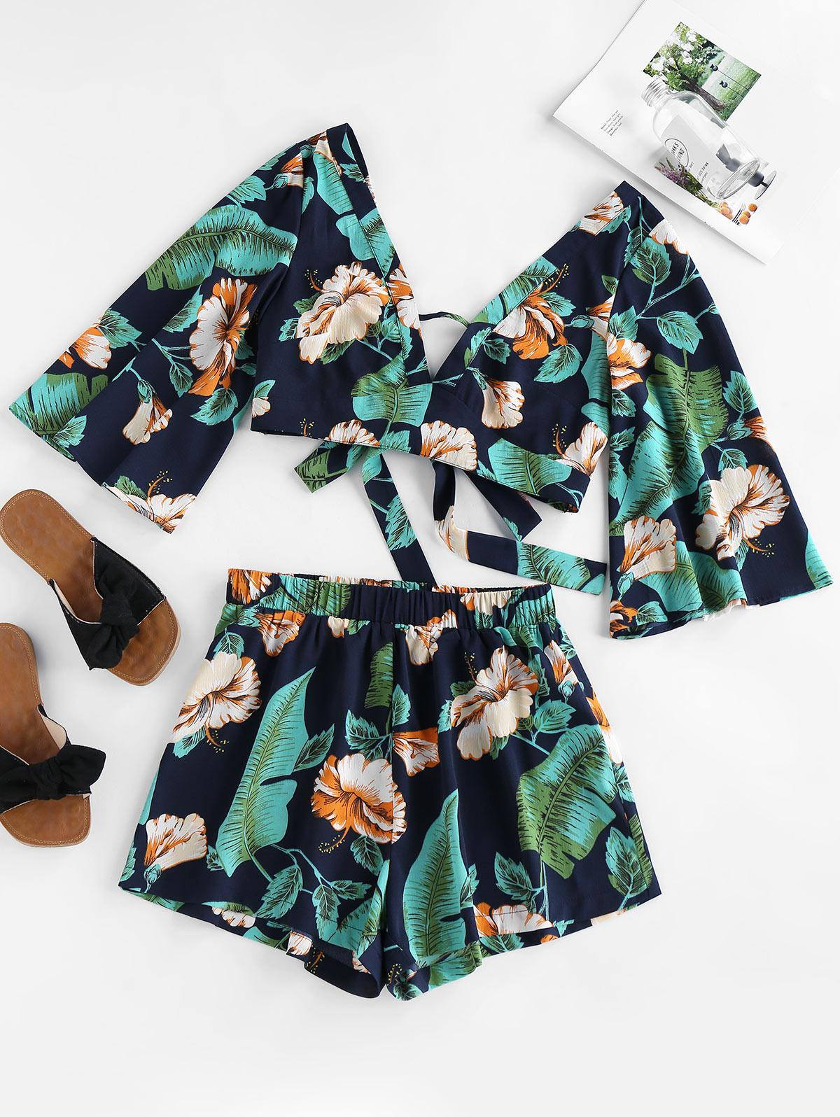 ZAFUL Tied Tropical Print Co Ord Set