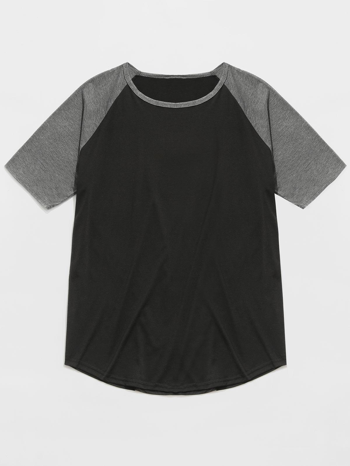 Raglan Sleeve Curved Hem Baseball T-shirt thumbnail