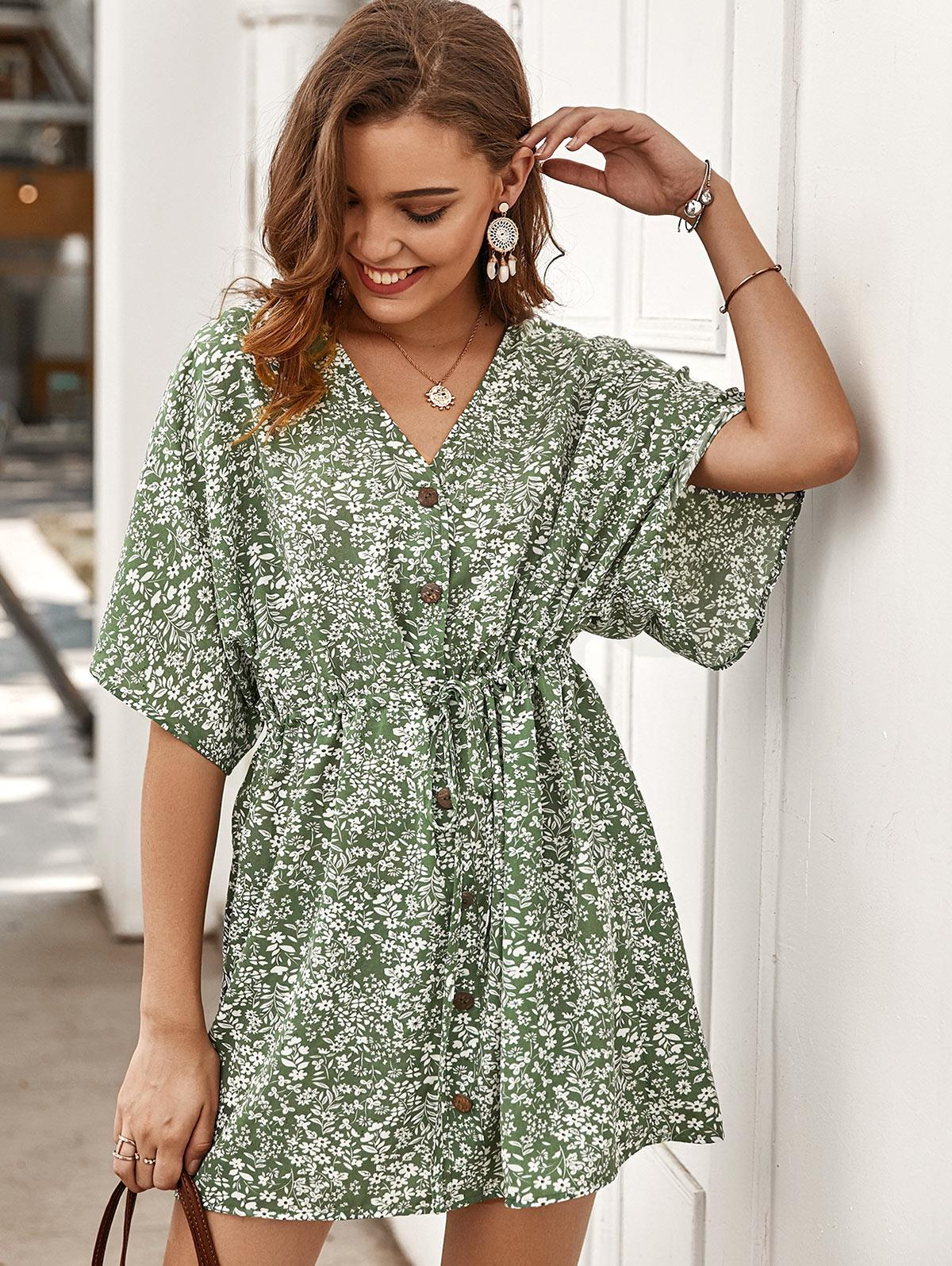 Tiny Floral Buttoned Drawstring Dress