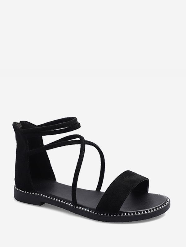 Crisscross Suede Ankle Strap Flat Sandals