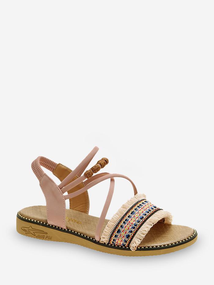 Fringe Trim Ankle Strap Ethnic Sandals