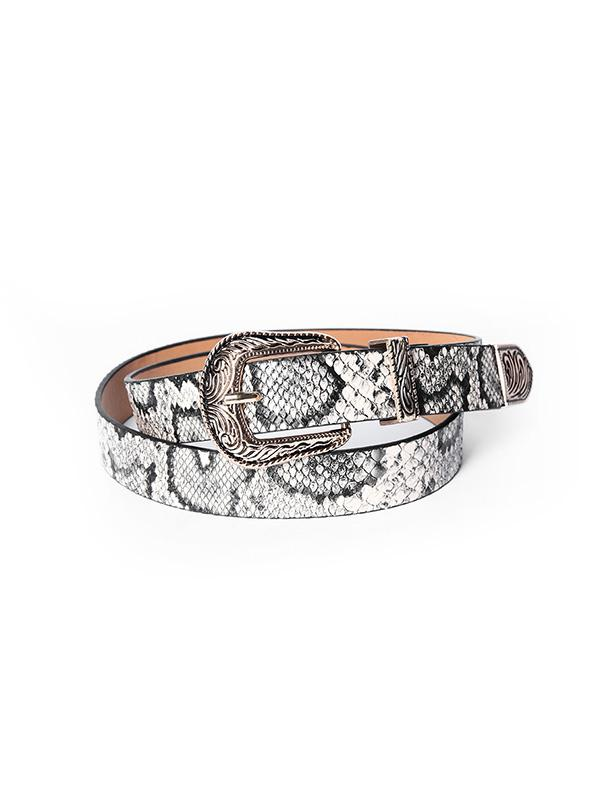 Snakeskin Pattern Carved Buckle Belt