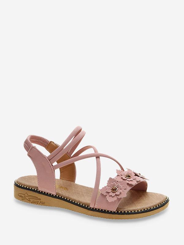 Floral Ankle Strap Flat Sandals