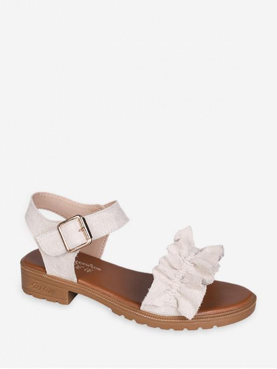 best Ruffled Low Heel Ankle Strap Sandals - WHITE EU 40