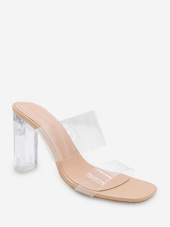 ladies Translucent Double Strap High Heel Slides - BEIGE EU 39