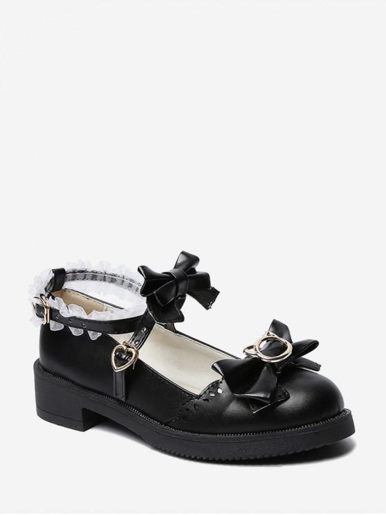 women Bowknot Leather Low Heel Lolita Shoes - BLACK EU 40