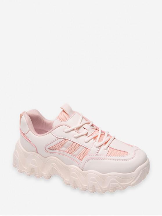 Zapatillas Deportivas Casual con Plataforma de Malla Transpirable - Rosa claro EU 40