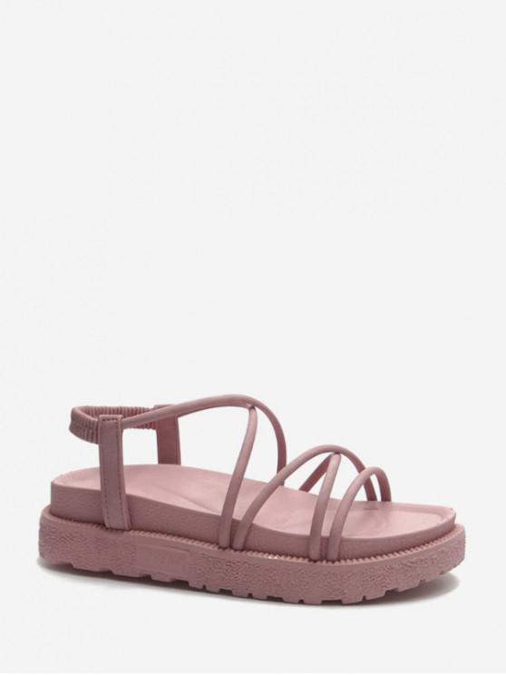 Sandalias de Tacón de Plataforma con Tiras Cruzadas - Rosa Claro EU 38