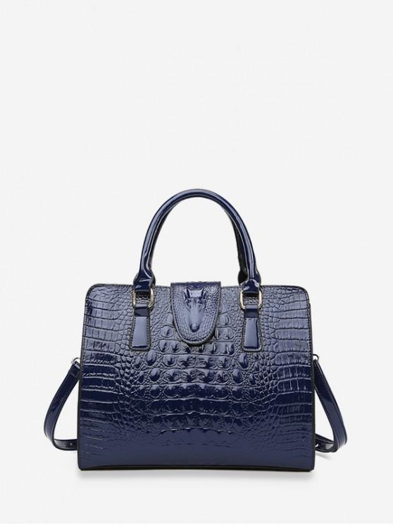 ladies Animal Embossed PU Leather Tote Bag - BLUE