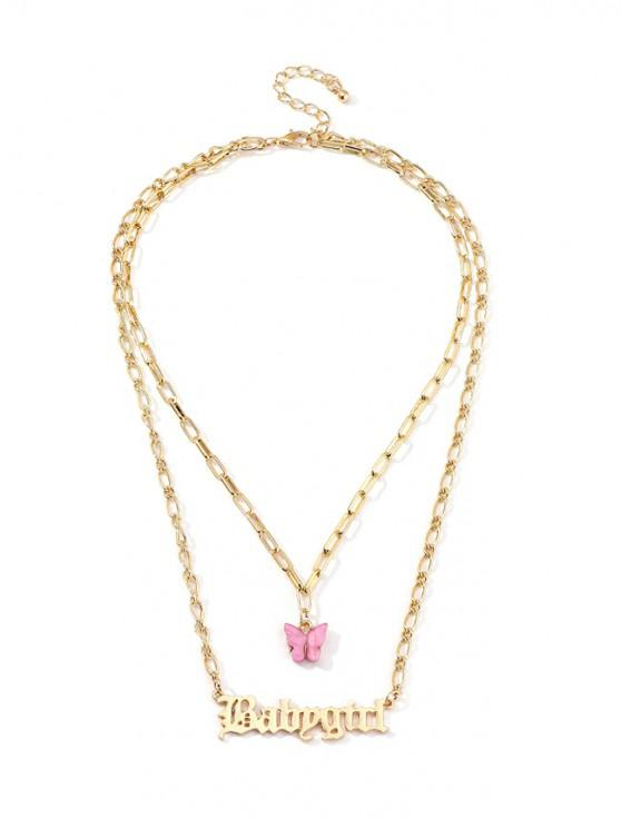trendy Butterfly And Letter Pendant Double Layer Chain Necklace - MAUVE