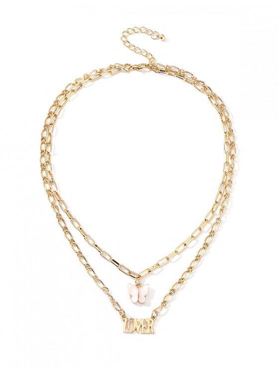 Collar de Cadena de Doble Capa de Mariposa y Letras - Rosado